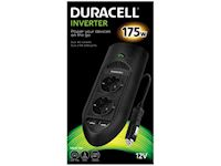 Duracell 175W Inverter with cable 1 m - 2 EU AC sockets + 2 USB ports (2.4A) - Black